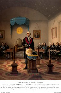 Painting of George Washington in Alexandria Lodge No. 22 in front of alter and opened Bible.