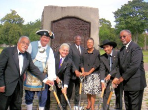 Contingency present at the ground breaking for the Prince Hall monument in Cambridge, MA.
