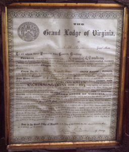 Current 1881 Charter from the Grand Lodge of Virginia under whose authority the current Kilwinning Crosse Lodge meets.
